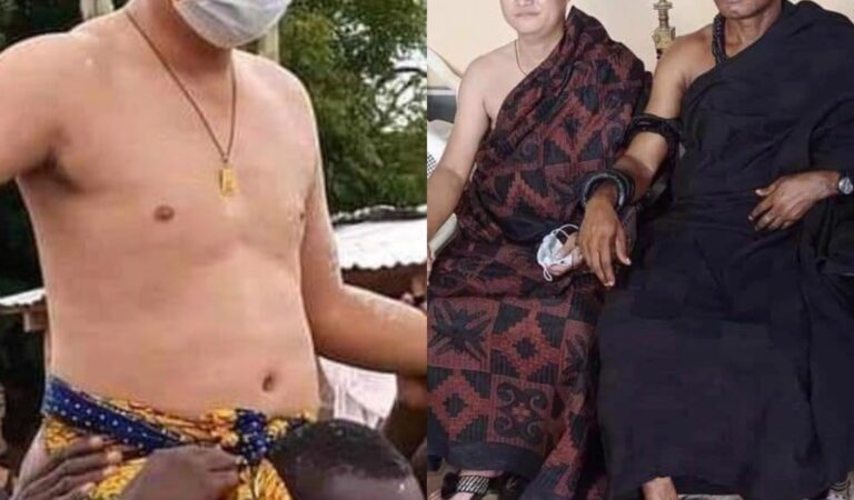 Shocking? Chinese Enstooled As Chief In Kwahu Abetifi – See Photos
