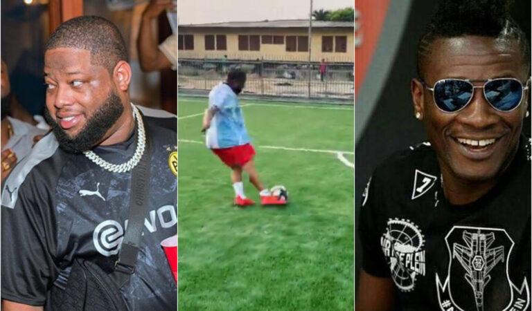 WATCH: Rapper D Black mocks Asamoah Gyan as he scores a brilliant penalty kick
