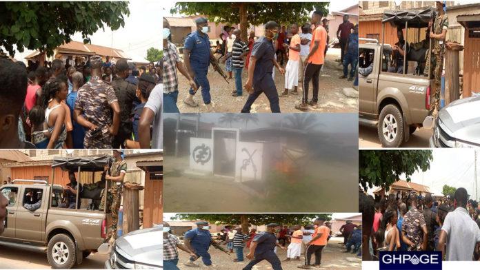 JUST IN: Angry youth burn down Otumfour Osei Tutu' shrine