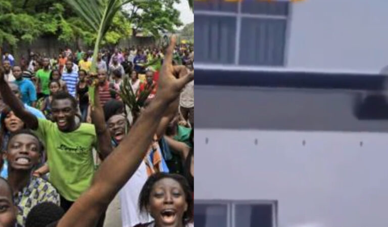 VIDEO: Massive jubilation as students hail their colleague for firing a girl the hardest way